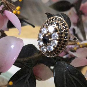 Vintage 925 onyx & topaz ring